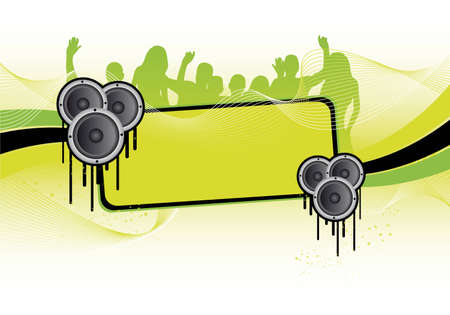 groene partij achtergrond met mensen  Stockfoto