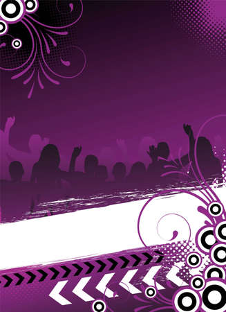 dance party: party flyer with dancing people Stock Photo