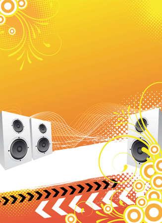 oranje abstracte partydisco flyer