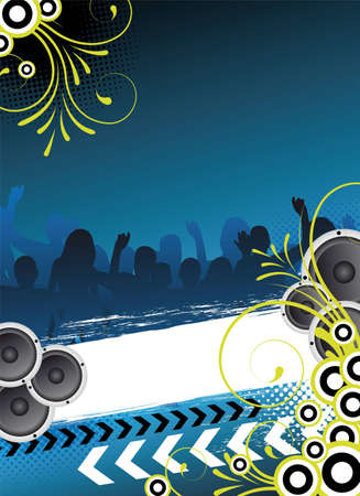 blue party flyer design with dancing people Stock Photo