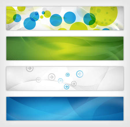 four abstract website header or background designs
