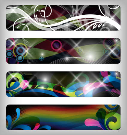 four abstract and colorful vector banners  designs photo