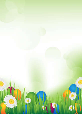 an abstract vector background with grass and easter eggs photo