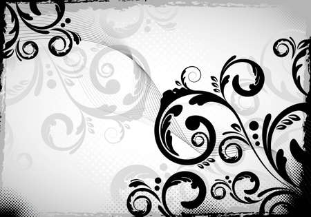 an abstract black colored floral design Stock Photo