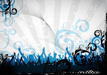 een abstracte grungy partij achtergrond met bloemdessin Stockfoto