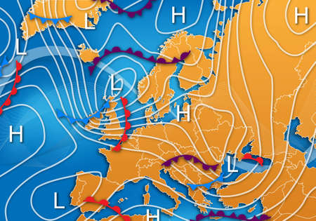 force of the wind: A European Weather Map with isobars and fronts Stock Photo