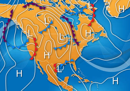 force of the wind: Weather Map Design of North America Stock Photo