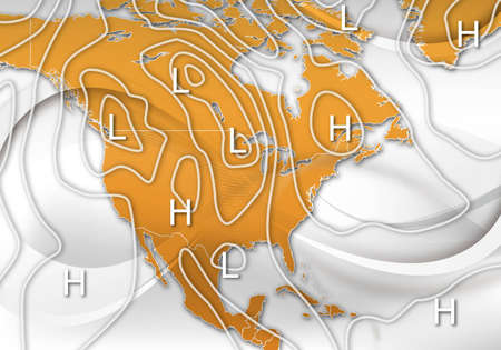 force of the wind: An Abstract Design of an Sample Weather Map of North America Stock Photo