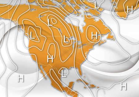 jet stream: Un resumen de dise�o de un mapa meteorol�gico muestra de Am�rica del Norte