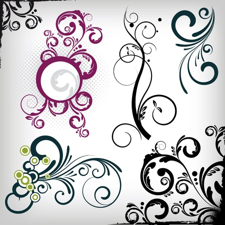 een set van floral design elementen. Stockfoto