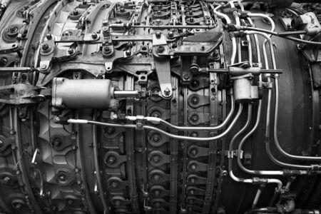 airplane engine: Part of airplane engine black and white Stock Photo