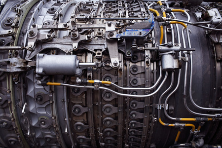 engine: Part of airplane engine color Stock Photo