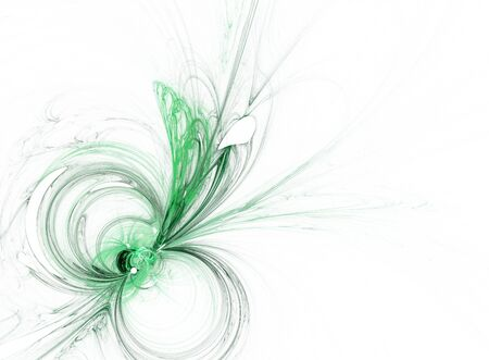 butterfly isolated: Green butterfly form fractal isolated on white