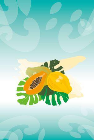 Papaya and Monstera greeting cards