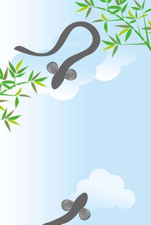 うなぎと竹の葉 写真素材