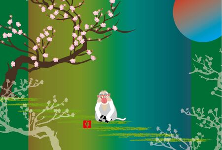 plum tree: plum tree and monkey with sun rising