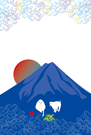 post cards: post cards of two white monkeys and  blue mountain with rising sun