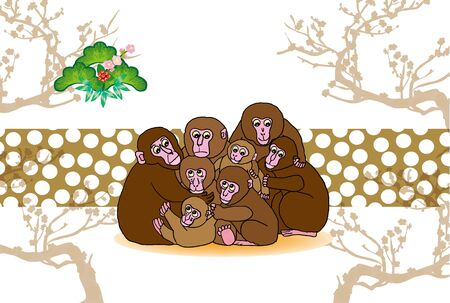 plum tree: post card of monkey family and plum tree Stock Photo