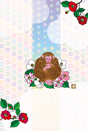 camellia: Monkey and the Camellia flower postcards