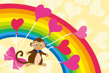 pink balloons: Cute monkeys and pink balloons and Rainbow postcard Stock Photo