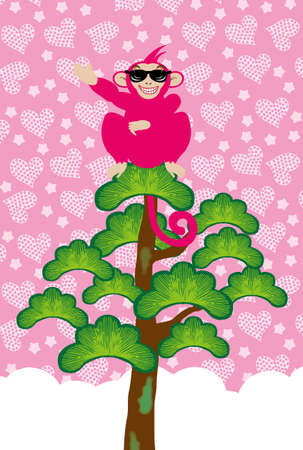 post cards: Pop monkey pink sunglasses illustrated post cards