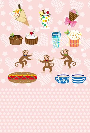 suites: Monkeys like suites illustrated post cards Stock Photo