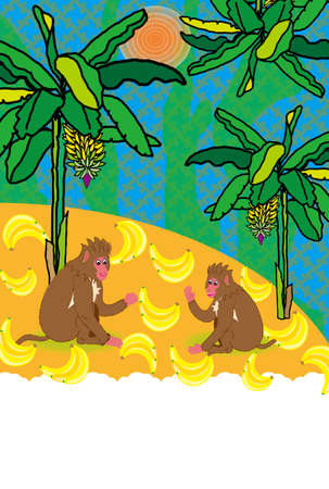 post cards: Pop bananas and monkey illustrated post cards Stock Photo