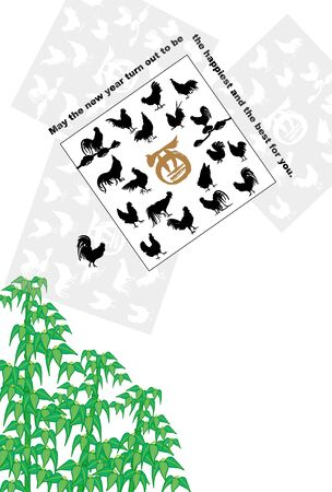 new years: Chicken and bamboo illustration new years card