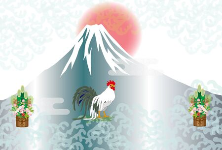 The greeting card of Rooster with Mt. Fuji