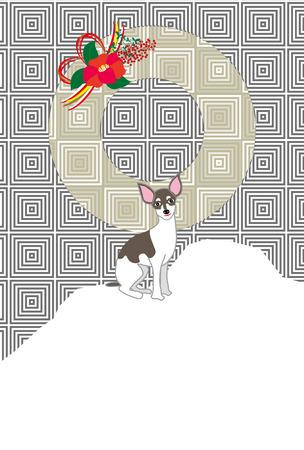 おしゃれな犬と椿花モダンなはがきテンプレート 写真素材
