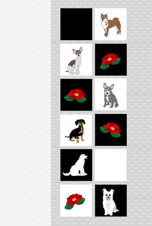 日本の椿の花し、犬の犬の年のカジュアルなポストカード