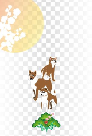 Shiba Inu and plum flowers, Sunrise and pine a simple Japanese-style postcard template