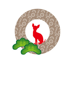松と赤犬シルエット シンプルはがきテンプレート