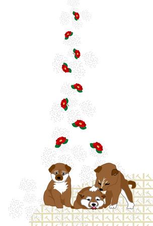 Shiba Inu の子犬と赤椿花かわいいはがきテンプレート