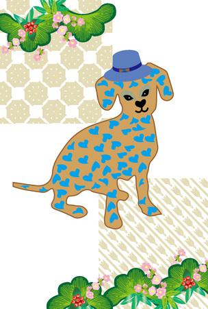 日本のかわいいハート パターン犬グリーティング カード 写真素材
