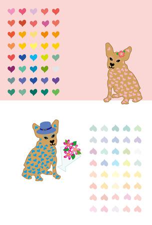 キュートなハート パターン犬グリーティング カード