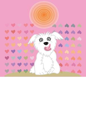 ピンクのハートのメッセージ カードとかわいい白い犬 写真素材