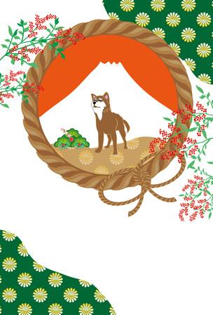 柴犬富士山と南のはがきテンプレート