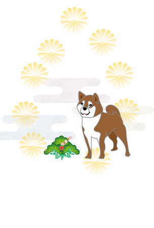A simple Japanese-style postcard templates design of chrysanthemums and Japanese midget Shiba