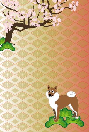 芝犬と梅の花スタイルはがきテンプレート