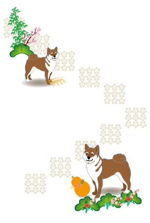 柴犬、ひょうたん、竹と梅の花のスタイルのはがきテンプレート 写真素材