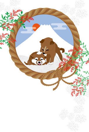 Shiba Inu の子犬と富士山と南和風イラスト ポストカード