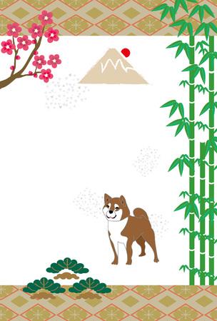 柴犬と竹と梅と松と日の出と富士山富士日本はがきテンプレート