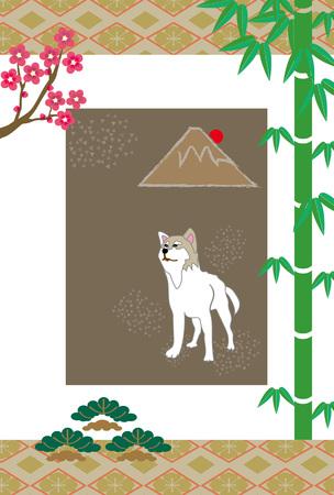 柴犬、竹や梅、松や山富士日本はがきテンプレート