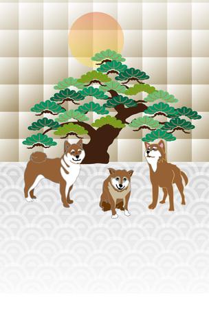 柴犬と松の木と日の出はがきテンプレート