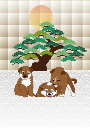 Shiba Inu の子犬と松の木と日の出はがきテンプレート 写真素材