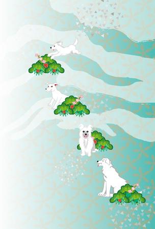 白い犬と松の木と梅の花スタイルはがきテンプレート