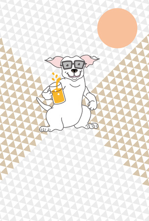Dogs with beer glasses and Sun greeting cards Stock Photo