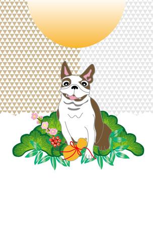ポップ犬とひょうたん松と日の出グリーティング カード 写真素材