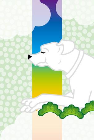 白い犬簡単和風グリーティング カード